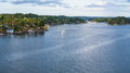 Panorama of Baltic Sea coastline with villages Royalty Free Stock Photo