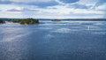 Panorama of Baltic Sea with green island Royalty Free Stock Photo