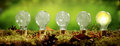 Panorama banner with a row of light bulbs Royalty Free Stock Photo