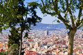 Panorama of Barcelona city from Montjuic hill Royalty Free Stock Photo