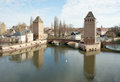 Panorama barrage vauban petite france medieval bridge ponts couverts towers strasbourg france Royalty Free Stock Photo