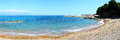The panorama of beach on ionian sea at luxury hotel peloponnes greece Stock Photos