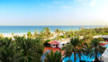 Panorama of the beach at luxury hotel ajman uae Stock Photo
