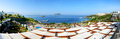 Panorama of the beach at luxury hotel bodrum turkey Royalty Free Stock Photos