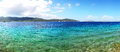 Panorama of the beach at luxury hotel bodrum turkey Royalty Free Stock Image