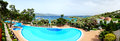 Panorama of the beach at luxury hotel bodrum turkey Royalty Free Stock Photography