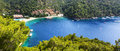 Panorama of the beach on turkish resort fethiye turkey Stock Photos