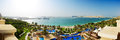 Panorama of beach with a view on Jumeirah Palm man-made island Royalty Free Stock Photo