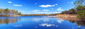 Panorama of beautiful lake in poland Royalty Free Stock Photography