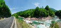 Panorama of beautiful White river in caucasian mountains in Adygea, Russia 23 Region Krasnodar Royalty Free Stock Photo