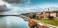 Panorama of belgrade with sava river color tone tuned Stock Photos