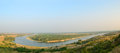 Panorama bend of the river in the desert don near razdorskaya village rostov region russia Royalty Free Stock Photos
