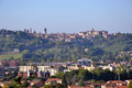 Panorama of bergamo upper city citta alta italy view the old and new below part the location lombardy region Stock Images