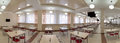 Panorama of big cafe with a set of little tables Royalty Free Stock Photo