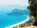 Panorama of blue lagoon and beach oludeniz turkey Stock Photo