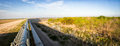 Panorama of border wall separating united states and mexico Royalty Free Stock Photo