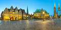 Panorama of bremen market square germany panoramic view the in at night Stock Image
