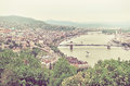 Panorama of of Budapest and the Danube River as Seen from Geller Royalty Free Stock Photo