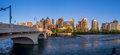 Panorama of calgary s skyline along the louise bridge canada may on may in alberta connects Royalty Free Stock Image