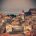 Panorama of the capital of corfu greece vintage coaster Royalty Free Stock Photos
