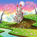 Panorama with castle cartoon and vector illustration Stock Image