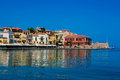 Panorama of chania crete greece beautiful cityscape and bay in city on island Royalty Free Stock Photo