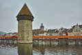 panorama of Chapel Bridge over Reuss River in Lucerne, Switzerland Royalty Free Stock Photo