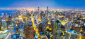 Panorama Chicago cityscape at coast, night view Royalty Free Stock Photo