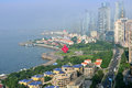Panorama of city in qingdao aerial view chinese Stock Photo