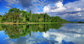 Panorama of cloudy sky runder the lake Royalty Free Stock Images