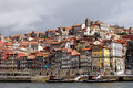 Panorama colorful ribeira do porto border river douro unesco world heritage city seeing river old pier rabelos boats typical Stock Photo