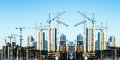 Panorama of the construction of modern residential district . Royalty Free Stock Photo