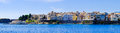 Panorama of  Corfu town from the sea. Old town buildings Royalty Free Stock Photo