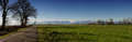 Panorama of countryside, Pyrenees mountains in background Royalty Free Stock Photo