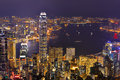 Panorama d horizon de ville de hong kong la nuit avec victoria harbor Photo libre de droits