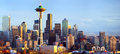 Panorama da skyline de Seattle no por do sol Imagem de Stock