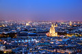 Panorama de Paris, France la nuit. Photographie stock libre de droits