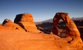 Panorama of Delicate Arch at sunset Royalty Free Stock Photo