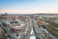 Panorama des gdansk stadtzentrums in der winterzeit Stockfoto
