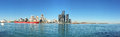 Panorama of the Detroit, Michigan Skyline with freighter in foreground Royalty Free Stock Photo