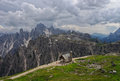 Panorama of Dolomites with chapel on foreground, Italy Royalty Free Stock Photo
