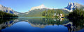 Panorama of emerald lake yoho national park british columbia panoramic view mountains reflected in canada Royalty Free Stock Photography