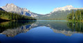 Panorama of emerald lake yoho national park british columbia panoramic view mountains reflected in canada Royalty Free Stock Photos