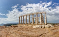 Panorama of the famous Poseidon temple, Sounio, Gr Stock Photography