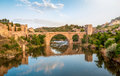 Panorama of famous Toledo bridge in Spain, Europe. Stock Photos