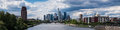 Panorama of frankfurt under a partly cloudy sky hessen germany Stock Image