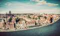 Panorama of Gdansk old town and Motlawa river in Poland. Vintage Royalty Free Stock Photo