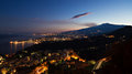 Panorama of Giardini-Naxos and Etna at twilight Royalty Free Stock Photo