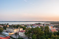Panorama of gizcyko with niegocin lake in the masurian lakes district northern poland Royalty Free Stock Image