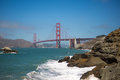 Panorama of the golden gate bridge san francisco suspension spanning opening bay into pacific ocean Royalty Free Stock Image